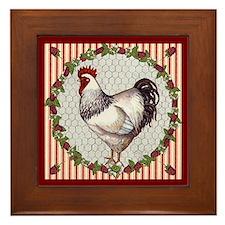 Sweet Raspberries Chicken Framed Tile