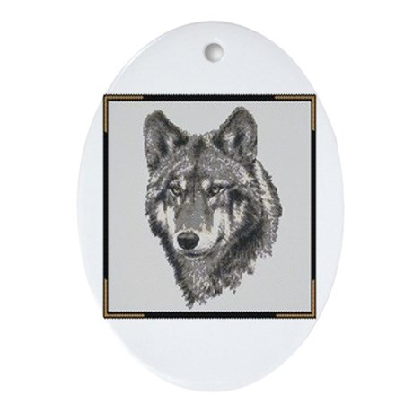 Oval Ornament - Wolf
