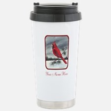 Red Northern Cardinal Bird Personalize Travel Mug