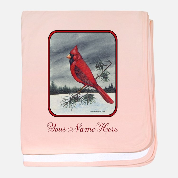 Red Northern Cardinal Bird Personalize Baby Blanke