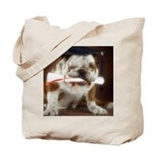 Bulldog wearing mortarboard and holding d Tote Bag