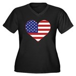 Stars & Stripes Heart Women's Plus Size V-Neck Dar