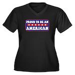 Proud American Women's Plus Size V-Neck Dark T-Shi