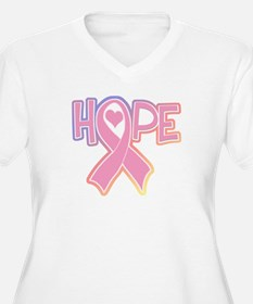 Breast Cancer: Hope Women's Plus Size V-Neck Tee