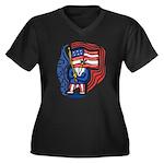 Patriotic Guy Women's Plus Size V-Neck Dark T-Shir