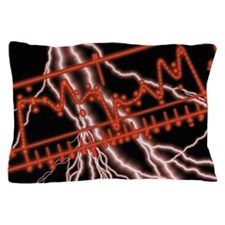 Composite of lightning bolts and EKG s Pillow Case