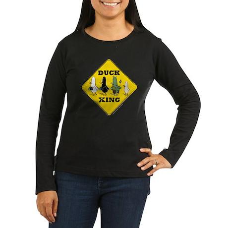 WTD: Duck Crossing Women's Long Sleeve Dark T-Shir