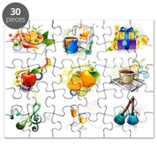 Leisure activity and refreshment icon set Puzzle