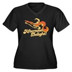 Afternoon Delight Women's Plus Size V-Neck Dark T-