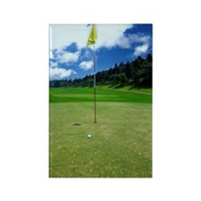 Flag on putting green Rectangle Magnet