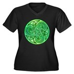 Celtic Triskele Women's Plus Size V-Neck Dark T-Sh