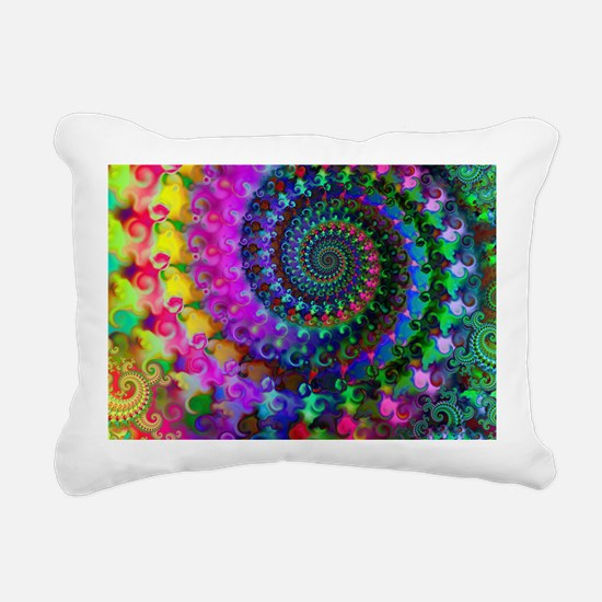 Psychedelic Rainbow Frac Rectangular Canvas Pillow