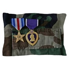 Silver Star and Purple Heart medals pi Pillow Case