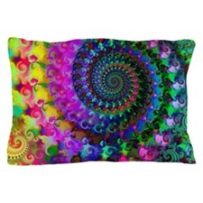 Psychedelic Rainbow Fractal Pattern Pillow Case