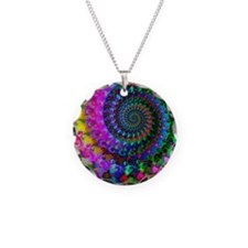 Psychedelic Rainbow Fractal  Necklace