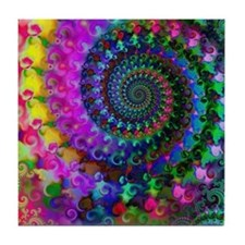 Psychedelic Rainbow Fractal Pattern Tile Coaster