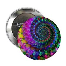 """Psychedelic Rainbow Fractal Pattern 2.25"""" Button"""