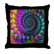 Psychedelic Rainbow Fractal Pattern Throw Pillow