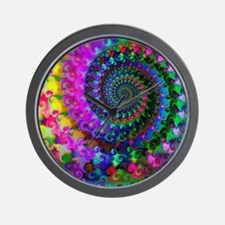 Psychedelic Rainbow Fractal Pattern Wall Clock