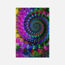 Psychedelic Rainbow Fractal Patte Rectangle Magnet