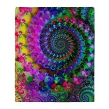 Psychedelic Rainbow Fractal Pattern Throw Blanket