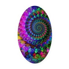 Psychedelic Rainbow Fractal Patter Oval Car Magnet