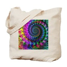 Psychedelic Rainbow Fractal Pattern Tote Bag