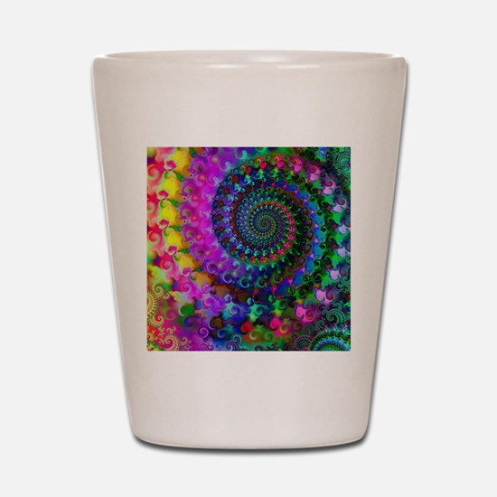 Psychedelic Rainbow Fractal Pattern Shot Glass