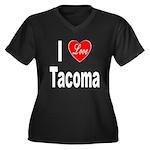 I Love Tacoma (Front) Women's Plus Size V-Neck Dar