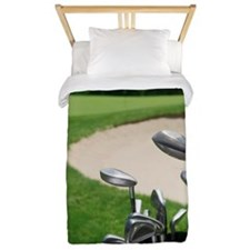 Golf clubs with course and sand trap in Twin Duvet