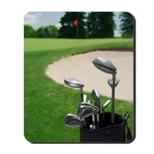 Golf clubs with course and sand trap in  Mousepad