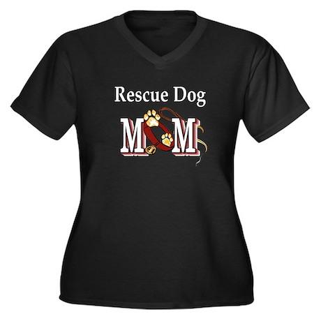 Rescue Dog Mom Women's Plus Size V-Neck Dark T-Shi