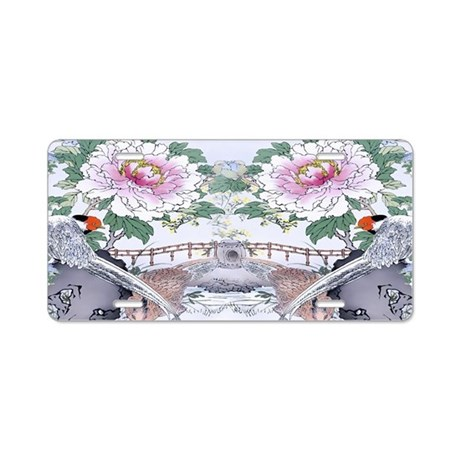 Key Hangar Pheasants Peony Aluminum License Plate