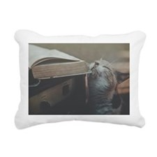 Cat with old book and gu Rectangular Canvas Pillow