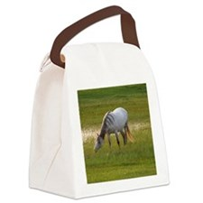 A white horse grazing in pasture  Canvas Lunch Bag
