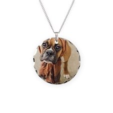 Clyde boxer pup wearing scar Necklace