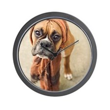 Clyde boxer pup wearing scarf. Wall Clock