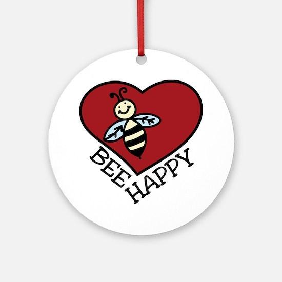 Bee Happy Round Ornament