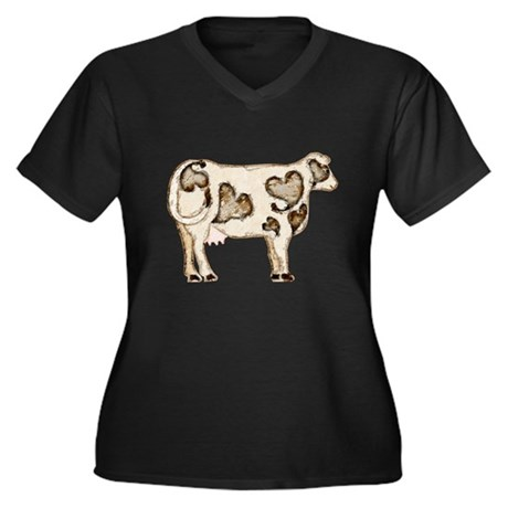 Love Cow Women's Plus Size V-Neck Dark T-Shirt