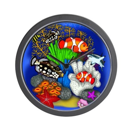 Tropical fish wall clock by eva designs for Fish wall clock