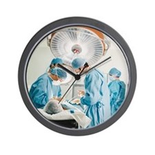 Four Surgeons Operating on a Patient Wall Clock