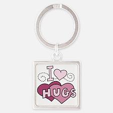 I Love Hugs Square Keychain