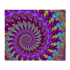 Psychedelic Purple Fractal Art Throw Blanket