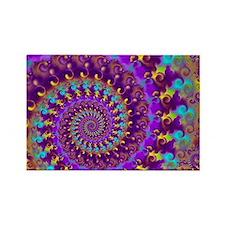 Psychedelic Purple Fractal Art Rectangle Magnet