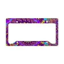 Psychedelic Purple Fractal Ar License Plate Holder