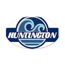 Huntington State Blue Wave Badge Oval Car Magnet
