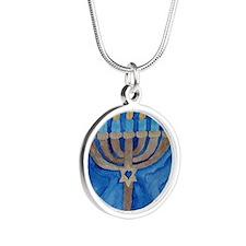 HANUKKAH MENORAH Silver Round Necklace