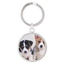 Two Welsh Corgi Round Keychain