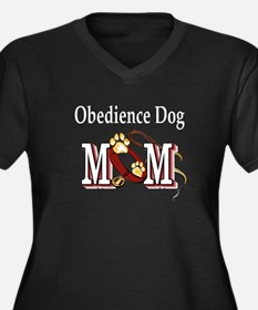 Obedience Dog Mom Women's Plus Size V-Neck Dark T-