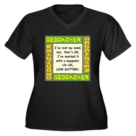 Green Geocacher Lost Mind Women's Plus Size V-Neck